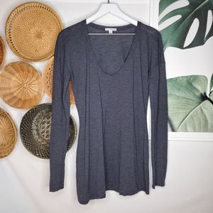 James Perse Blue Gray Striped Tunic Pullover Top